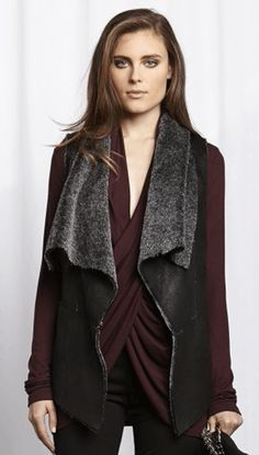 Red 23 Faux Fur Vest in Black at Thera M.