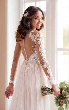 Courtesy of Stella York wedding dresses; 6646 Bold and Boho Lace Wedding Dress by Stella York Lace Back Wedding Dress, Sweet Wedding Dresses, Making A Wedding Dress, Long Sleeve Wedding, A Line Wedding Dress With Sleeves, Gown Wedding, Dress Lace, Bridal Gown, Wedding Bride