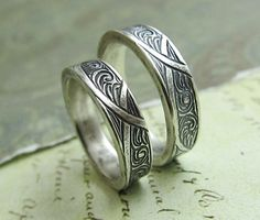 Rustic Vine Wedding Band Ring Set 14k White Gold Leaf Engraved Bands Rings Always Message Peacesofindigo