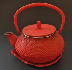 Vintage Red Cast Iron One Cup Tea Kettle by GANTIQUES on Etsy,