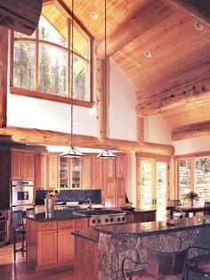 Best Mountain Home Design Interior; Kitchen Design: Traditional Kitchen Designs For Mountain Homes Stone Kitchen Island
