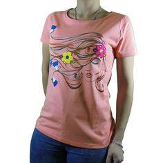 camiseta flores pelo coral