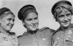 Three female Soviet snipers during WWII