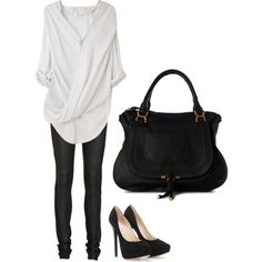 Helmet Lang Overlap Shirt and Leather High Waisted Jeans