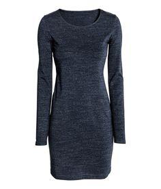 Vestido corto básico | Azul oscuro jaspeado | Mujer | H&M MX