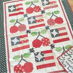 """Here's another version of my """"Old Glory"""" block but with my """"Pie Cherries"""" block…"""