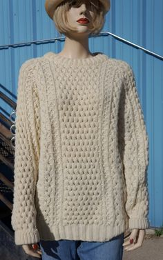 Vintage Chunky Over Size Cable Knit Sweater, 60s Hand Knit Ski ...