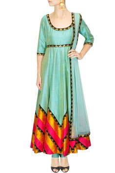 Mint green, yellow and hot pink sequins embroidered anarkali set available only at Pernia's Pop Up Shop.
