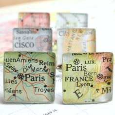 Vintage Map Sterling Silver Square Cufflinks. You Select the Journey.. $50.00, via Etsy.