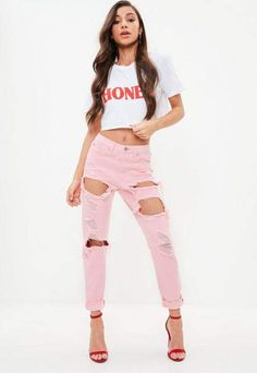 Pink High Rise Ripped Jeans #cute #pink #rippedjeans #styleinspiration #affiliate