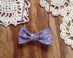 mini bow tie necklace  vintage fabric bowtie by kissmeawake, $16.00