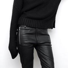 Leathers + Sweaters... ✔️✔️ Dusting off a few goodies from last A/W #Fall #allblackeverything #figtny