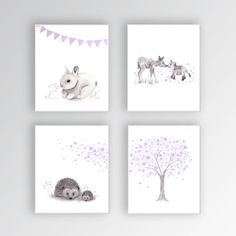 Nursery Art CANVASES Woodland Nursery Art Baby Girl Nursery Decor, Purple and Gray, Rabbit Nursery, Deer Art, Hedgehogs, Set of 4 Canvases