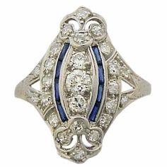 Antique Art Deco Platinum 1ct. Diamond Ring