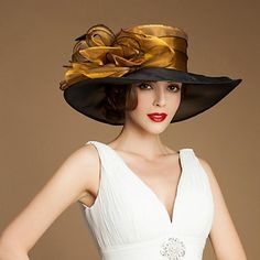 Beautiful Organza Special Occasion Hats With Big Side(more colors) – USD $ 29.99