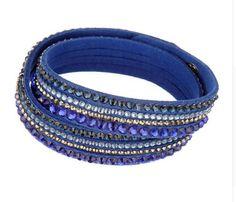 Armbänder - Wickelarmband mit Strass und Glitzer in royalblau - ein Designerstück von Annabells_Schmuckwelt bei DaWanda