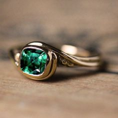 Emerald engagement ring, ethical engagement ring, yellow gold engagement ring…