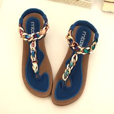 Flat heel flip-flop sandals fashion metal chain cow muscle soft outsole casual flat sandals women's shoes 2014