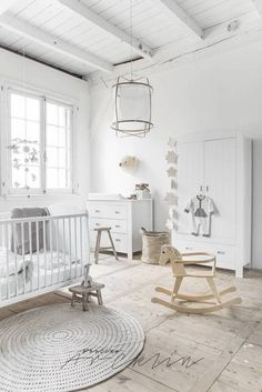farmhouse interior white nursery design Love this floor!