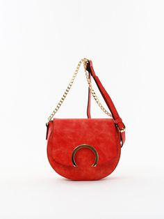 Solid Chain Strap Cross Body Bag in Red