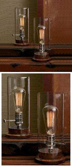 Classic Glass Period Tungsten Fillament Table Lamp, Edison Style Table Lamp, $175.00