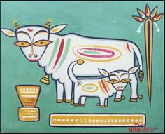 """hinduimages: """" The day of Diwali is celebrated as Govardhan Puja or Annakut (meaning heap of grains) Govardhana Puja is the festival celebrating Sri Krsna's Leelaa of lifting Govardhana Hill to protect the residents of Vrindavan from the wrath of. Indian Artist, Indian Arts And Crafts, Jamini Roy, Tribal Art, Madhubani Art, Amazing Art Painting, Indian Folk Art, Art, Cow Illustration"""
