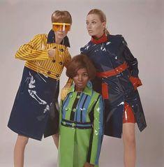 Plastic fashion rain coat slicker 60s vintage fashion style color photo print ad model magazine blue green yellow