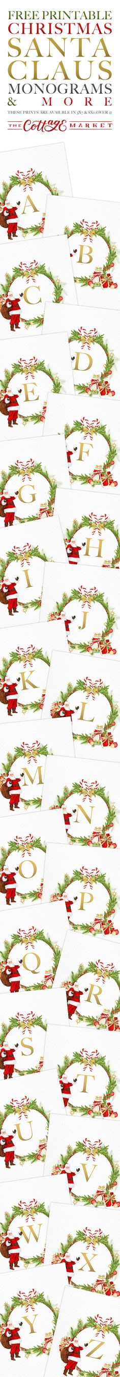 Free Printable Christmas Santa Claus Monograms and More