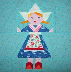 Paper Pieced DUTCH girl!!!  This would be so fun as a pillow!