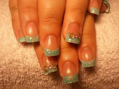 Aqua glitter acrylic nail tips with silver 3D bows