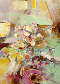 Marion van Nieuwpoort (Dutch artist) 1950 - 2008 Campanula, 1989 watercolour and pastel 100 x 70 cm.  signed Marion van Nieuwpoort 1989
