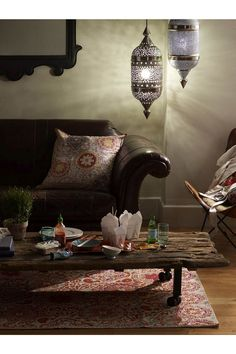 """love these lanterns, what are they, Moroccan? and of course, the couch. Anthropologie """"Cotswold"""" sofa, pic 3 of 3"""