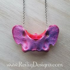 Pink and Purple Galaxy Inspired Coyote Atlas Bone Necklace