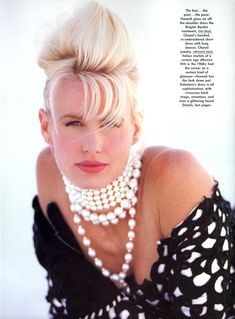 US Vogue November 1989 Couture: Seeing Stars Photo Patrick Demarchelier Editor Polly Mellen Model Daryl Hannah Hair Sam McKnight Makeup Sonia Kashuk