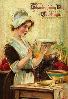 Vintage Thanksgiving card: pie making
