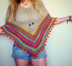 Crochet poncho. Crochet top shawl cape by LittleDoLah on Etsy