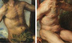 Diferencia nº 7 entre el original de Tiziano y la copia de Rubens: EL CUERPO SERRANO DE ADÁN. Del post http://harteconhache.blogspot.com.es/2013/07/las-siete-diferencias-entre-tiziano-y.html