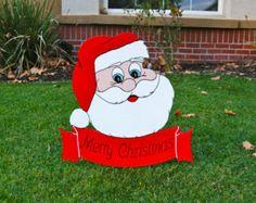 JOY ANGEL YARD ART   Santa Merry Christmas Outdoor Wood Yard Art Sign ...