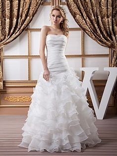 Satin Strapless A Line Wedding Dress with Ruffled Skirt and Pleated Bodice'