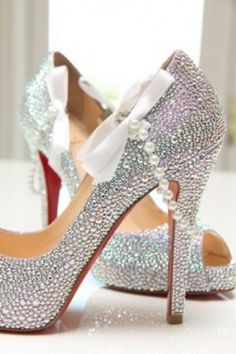 WANT. Pearl and sparkle wedding heels