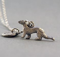 Ferret Necklace Ferret in antique silver by ShortandBaldJewelry, $19.75