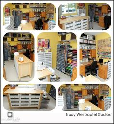 Tracy Weinzapfel Studios- DROOL! Look at all the nicely organized art supplies!!! Shelves! Drawers! Clear plastic containers!