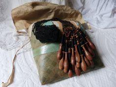 French antique bobbin lace pillow w wood by MyFrenchAntiqueShop
