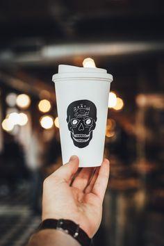 Eco-Friendly Reusable Mug, £14.  Death Before Decaf!
