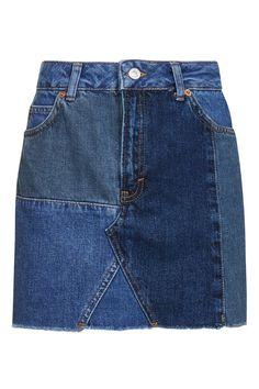 MOTO Patchwork Skirt - Denim - Clothing - Topshop