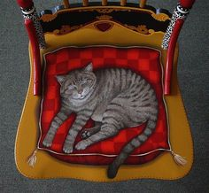 Painted Furniture Mixed Media - Detail Seat Of Painted Cat Chair by Andrea Ellwood