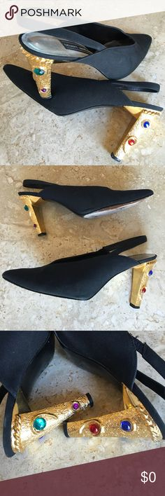 "Vintage Stuart Weitzman heels EUC. Simply stunning rhinestone-encrusted gold heels. Satin-like upper, leather lined, leather sole. These are truly one of a kind. 3 2/3"" heel. Sz 8.5 B. Thanks‼️💋 Stuart Weitzman Shoes Heels"