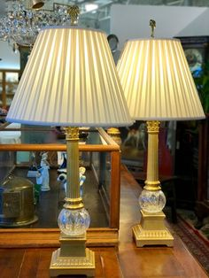 """Pair Solid Brass and Gut Glass Column Lamps   New Linen Shades  38"""" Tall   $695 Pair  Dealer #7373  LOST . .again Antiques & Decor 148 Riveredge Dallas, TX 75207"""