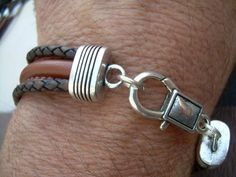 Mens Leather Bracelet Antique Brown and Saddle Brown Leather Lobster by UrbanSurvivalGearUSA