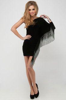 Ombre Fringe Mini Dress in Black